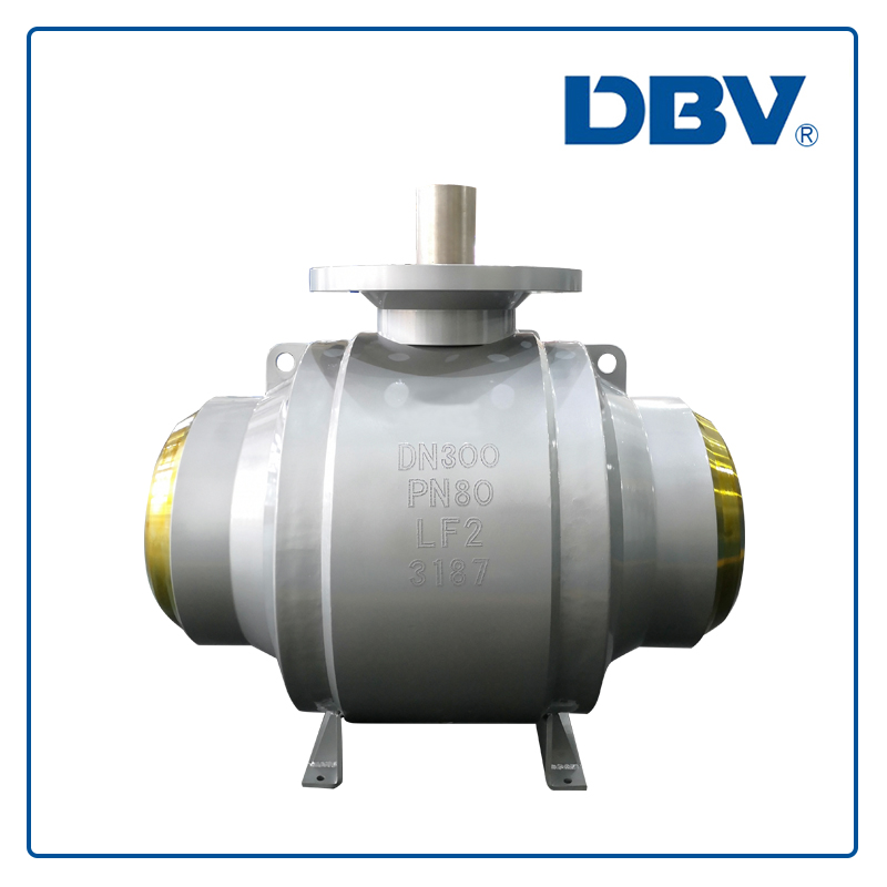 High pressure fully welded ball valve with bare shaft